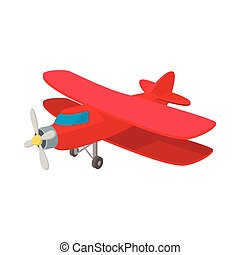 Biplane icon, cartoon style