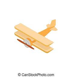 Biplane icon, isometric 3d style