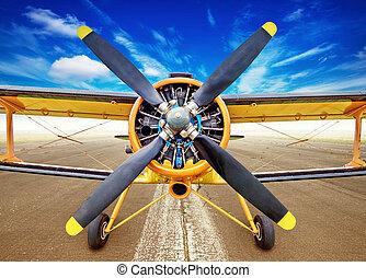 biplane on a runway