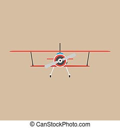 Biplane red front view vector icon transportation. Engine wing vehicle adventure plane concept. Vntage illustration