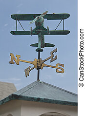 Biplane Weathervane - Copper weathervane detail.