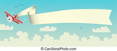 Airplane Travel Biplane With Banner Above The Vector