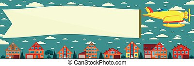 Biplane with banner. Vector illustration.