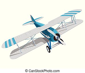 Biplane with blue and white coating. Model aircraft propeller with two wings.
