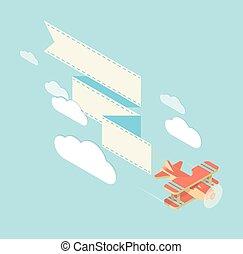 biplane with ribbon square