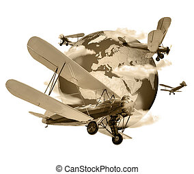 Biplanes flying around the Globe sepia