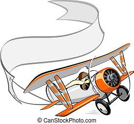 biplano, bandera, caricatura, blanco