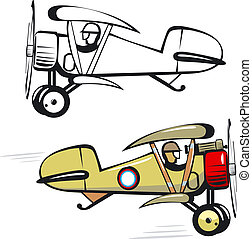 biplano, caricatura