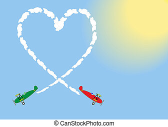 biplano, corazón, empate, cielo, dos