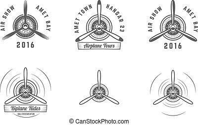 biplano, diseño, blanco, sellos, labels., vector, viejo, aislado, retro, aviación, propulsor, emblems., logotipo, avión, airshow, fondo., collection., logotype., vendimia, icono, conjunto, elements., insignias, avión