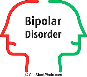 bipolar disorder like linear faces. concept of split personality or schizo diagnosis and duality person. simple flat trend modern outline man logotype graphic art design isolated on white background