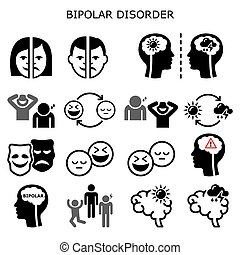 Bipolar disorder vector icons - mental health concept, people experiencing extreme happiness and sadness