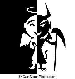 Bipolar disorder.Smile of saint and satan, Angel and Devil...