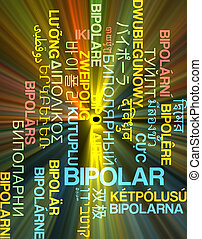 Bipolar multilanguage wordcloud background concept glowing