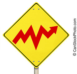 Bipolar Up and Down Arrow Volatility on Warning Sign