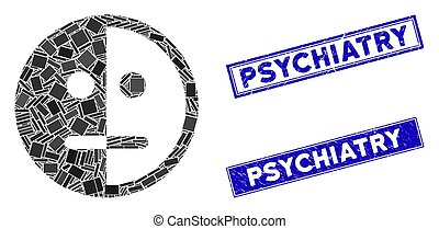 Bipolarity Face Mosaic and Grunge Rectangle Psychiatry Stamp Seals