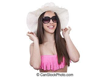 biquíni, menina, óculos de sol, branca