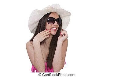 biquíni, menina, óculos de sol, isolado