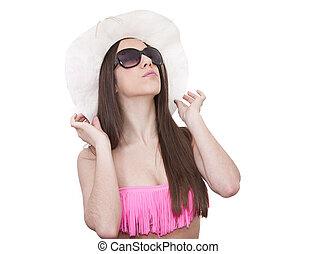 biquíni, menina, branca, e, óculos de sol