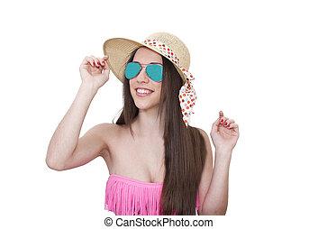 biquíni, menina, em, óculos de sol, isolado