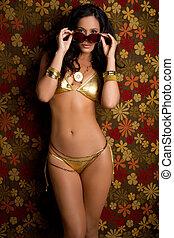 biquíni, mulher, óculos de sol