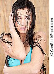 biquíni, mulher, molhados