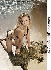 biquini, playa, modelo, hembra, magnífico