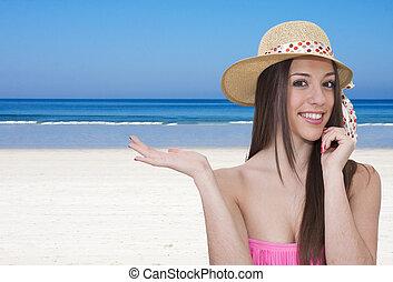 biquini, playa, niña