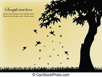 bir, arbre, silhouette, noir
