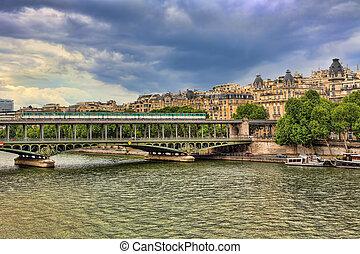 bir-hakeim, pont, de, paris, france., bridge.