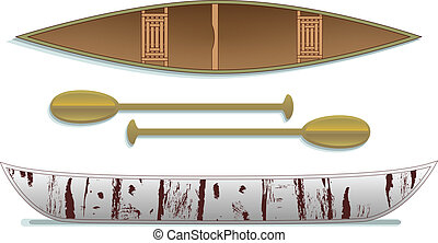Birch Bark Canoe & paddles - Eye-catching top-down and side...