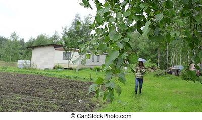 birch branch woman house