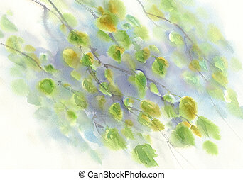 birch branches watercolor background