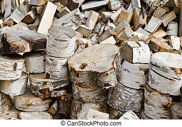 Birch fire wood, close up
