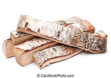 Birch firewood on white background
