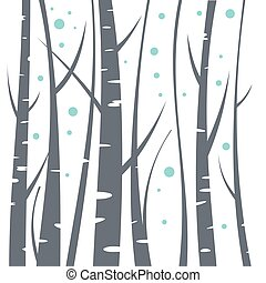 Birch flat illustration on white background