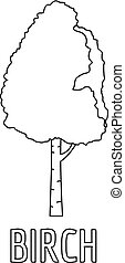 Birch icon, outline style.