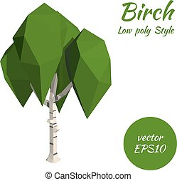 Birch in low poly style. Vector