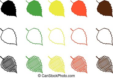 Birch leaf - color set, birch leaf,