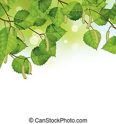 Vector background with birch spring sunlit leaves
