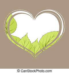 Birch leaves inside the heart on a brown background