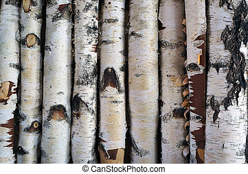 Birch logs fence.