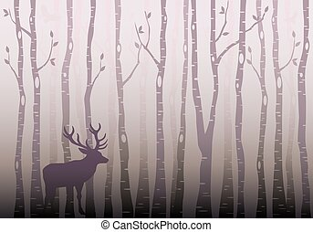 Birch tree forest with deer and birds, winter wonderland, vector illustration