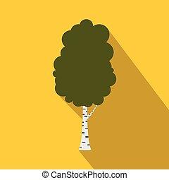 Birch tree icon, flat style