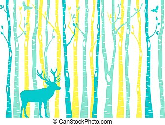 Birch trees forest with reindeer, vector