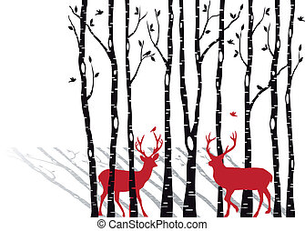 birch tree forest with red christmas deers, vector background