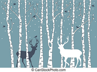 birch trees with birds and deer, vector background illustration