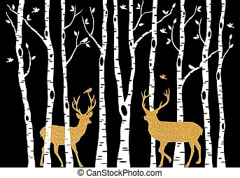Birch trees with gold Christmas deer, vector - Christmas...