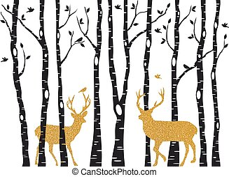 Birch trees with gold Christmas reindeer, vector - Christmas...