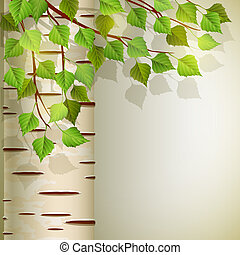 Vector illustration - background with birch, EPS 10, RGB. Use transparency and blend modes